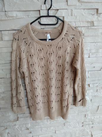 Ażurowy sweterek beżowy Atmosphere