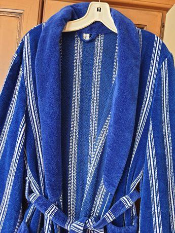 Szlafrok damski niebieski 100% bawełny.