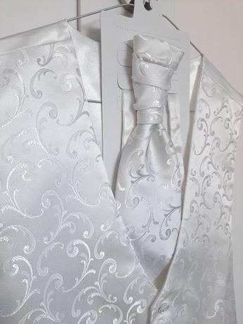 Chattier kamizelka ślubna musznik poszetka zestaw biały we wzory roz M