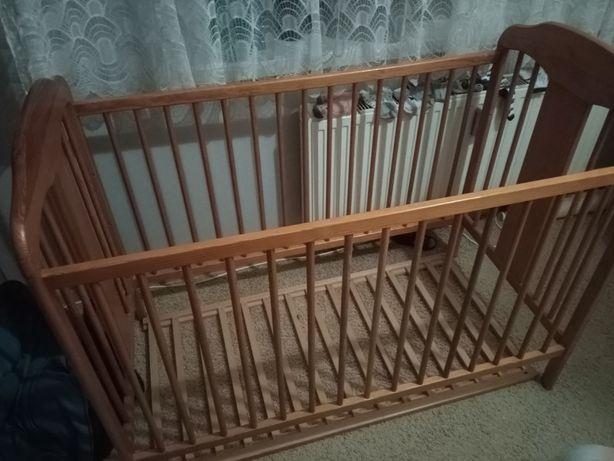 Łóżeczko dziecięce drewniane 120x60 z materacem