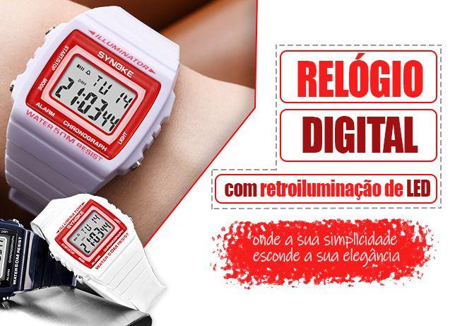 Relógio digital com retroiluminação de LED, com design lendário