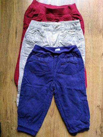 3 pary spodnie sztruksowe ocieplane komplet r. 86 H&M
