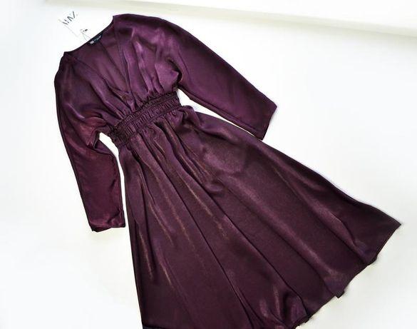 Оригинальное платье из сатина с эластичной талией zara
