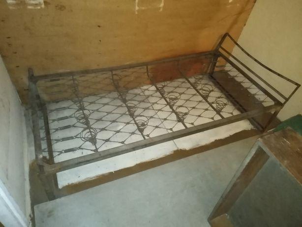 Łóżko metalowe wojskowe stare z szuflada industrial loft design 1x2m