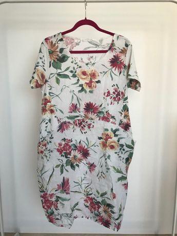 sukienka lniana w kwiaty oversize dł.100cm