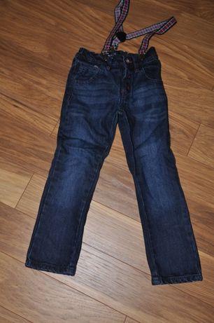 5 10 15 - Spodnie Jeansy z szelkami rozm.122