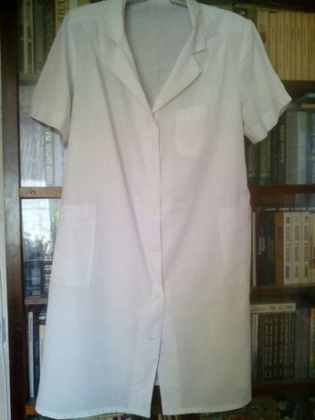 Женский белый медицинский халат XL с коротким рукавом