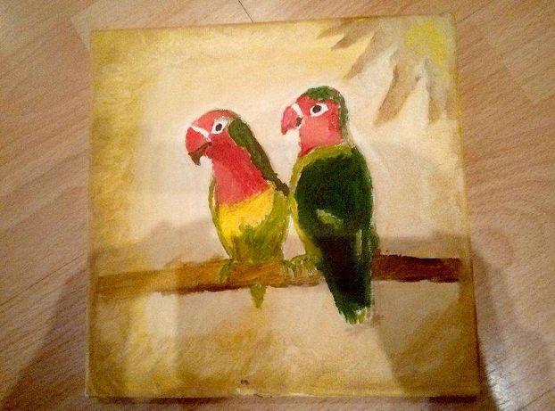 Картина маслом попугаи-неразлучники на холсте с подрамкой