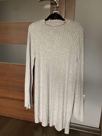 Nowa szara prążkowana rozkloszowana sukienka dzianinowa New Yorker