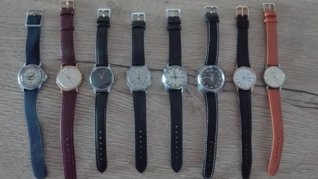 Zestaw zegarków (Boctok, Pobieda, Poljot, Mir, Zaria, Czajka - 8szt.