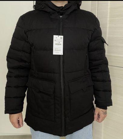Черная зимняя куртка zara новая