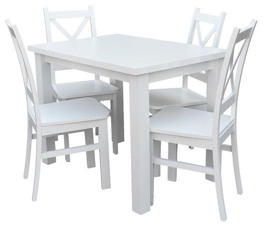 Stół 100x70| 4 Krzesła| Biały Mat| Dostawa cała Polska