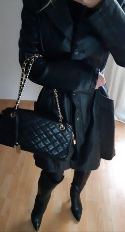Płaszcz skórzany czarny elegancki skóra naturalna OKAZJA