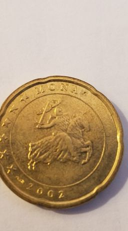 Moeda de 20 centimos Mónaco 2002 com defeito de cunhagem
