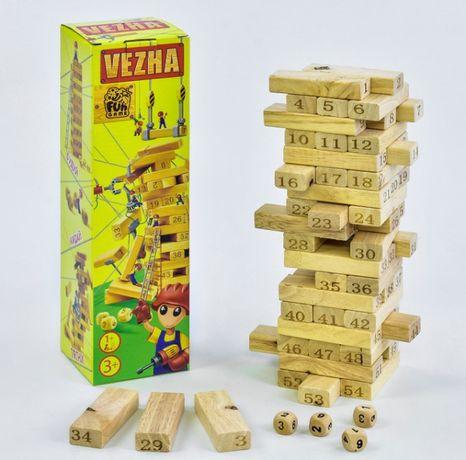 """Настольная деревянная игра """"Вежа"""" 54 детали, """"FUN GAME"""""""