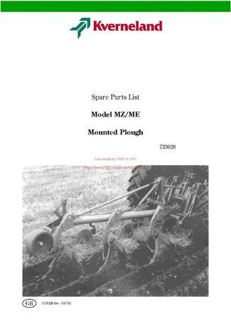 Katalog części pługi KVERNELAND MZ/ME