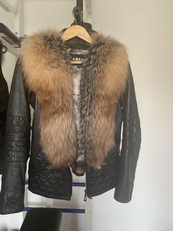 Кожаная куртка с натуральным мехом и жилетка с натуральным мехом !