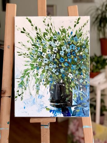 Картина маслом на холсте Цветы в вазе Прованс