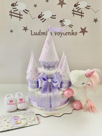Замок из памперсов торт из подгузников в наличии подарок на выписку