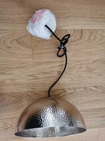 Lampa sufitowa srebrna metalowa