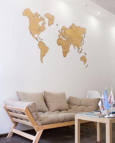 Дерев'яна карта світу, карта мира, мапа, декор, інтерєр