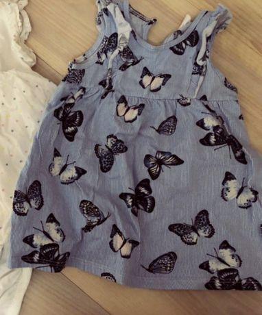 Sukieneczka h&m sukienka falbanką 68 4-6 miesiaca