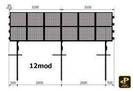 Konstrukcja pod panele fotowoltaiczne jednopodporowa PRW1V2x6 +2m