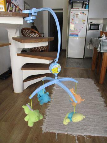 BRUIN Mobile Musical para berço azul 4 peluches mecânico c/ corda NOVO