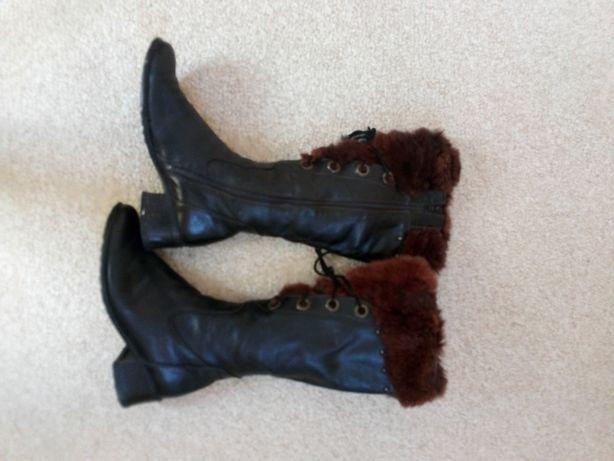 Зимние, кожаные сапоги