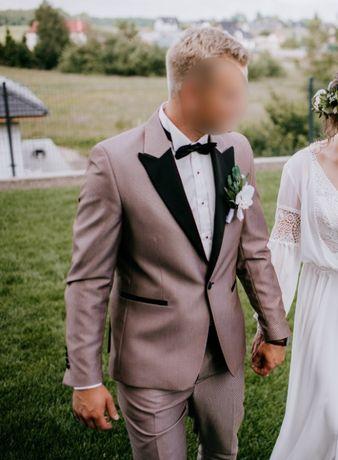 Smoking ślubny garnitur ślubny brązowy beżowy 2020