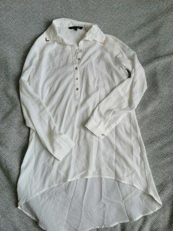 Biała koszula top secret 36. Złote zdobienia przy kołnierzyku