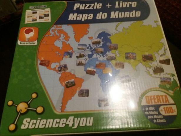 Puzzle mais livro mapa do mundo caixa por abrir