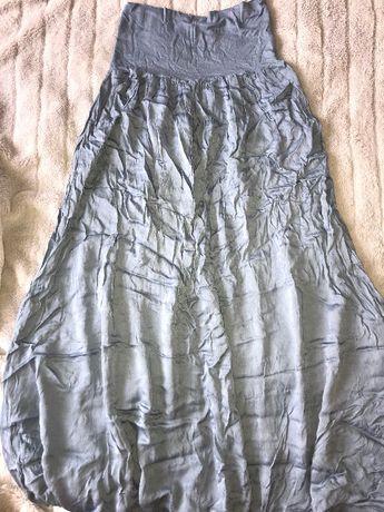Made in Italy ciążowa niebieska spódnica maxi