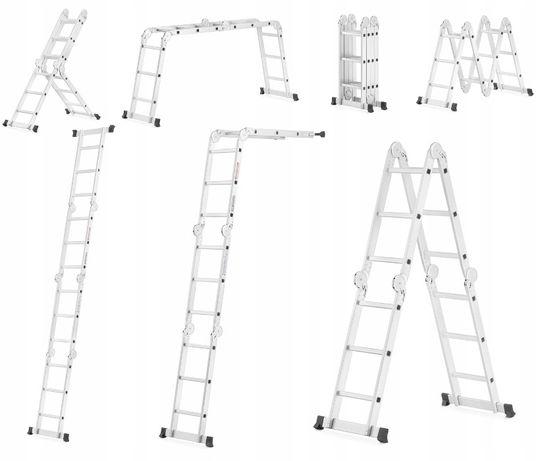 Drabina aluminiowa PRZEGUBOWA SKŁADANA 4x3 ATROX wielozadaniowa NOWA!