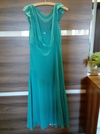 Suknia M L 38 40 maxi zielona butelkowa zieleń szyfon kopertowy zara