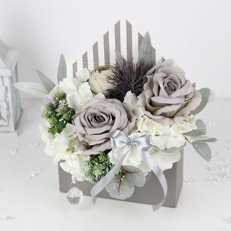 BUKIET premium w szarej KOPERCIE FlowerBox na prezent MIX kwiatów