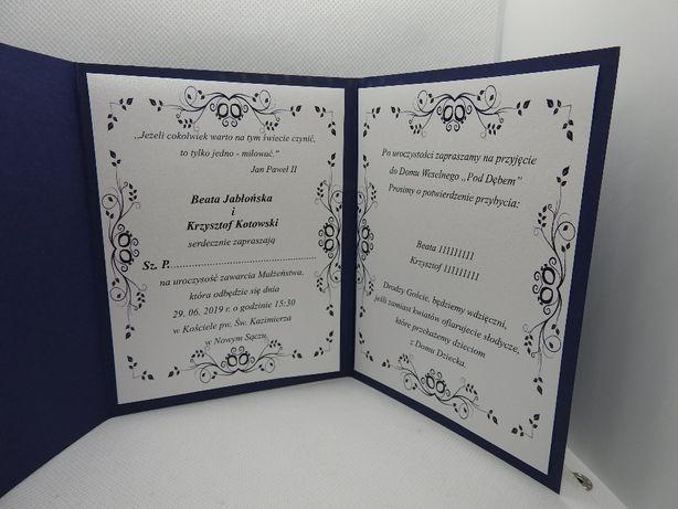 Zaproszenie na ślub zaproszenia ślubne folder granatowe szaresrebrne