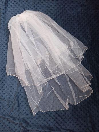 Welon ślubny dwuwarstwowy krysztalki