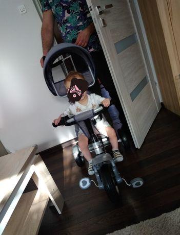 Rower rowerek trójkołowy daszek rączka pasy koszyczek pojemnik