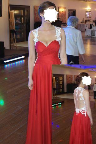 sukienka wesele czerwona 34/36, odkryte plecy, koronka, wycięcie
