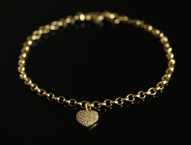 Złoto 585-złota bransoletka damska z sercem
