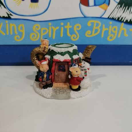 Статуэтка миниатюра домик в виде чайника Новогодний декор Англия