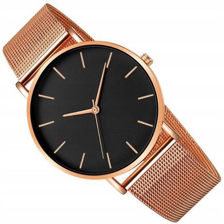 Elegancki zegarek na bransolecie różowe złoto tarcza czarna