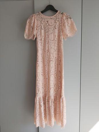 Piękna Boho sukienka, ZARA, Nowa, S, łososiowy róż