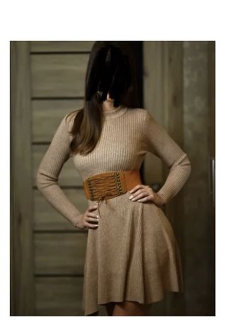 Sukienka gruba dzianinowy rozkloszowana beżowa khaki xs 34 s 36 now