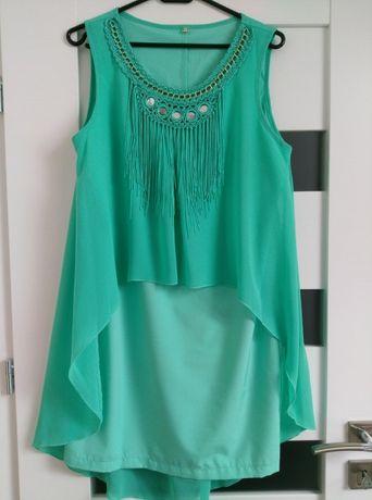 Miętowa sukienka, rozmiar L bardzo efektowna
