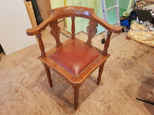 Fotel narożny biurowy, krzesło antyczne skórzane