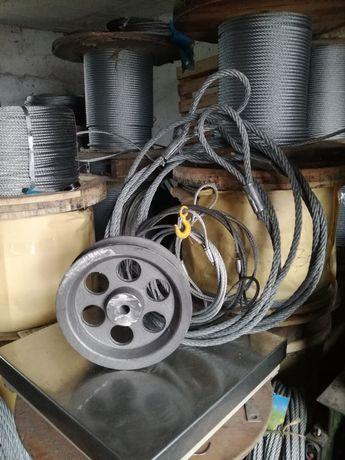 Zgarniacz obornika, lina stalowa, kola zeliwne