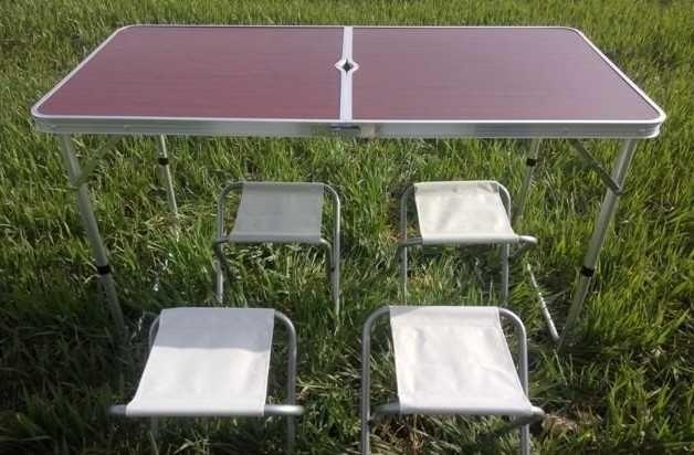 Стол алюминиевый раскладной для пикника + 4 стула.