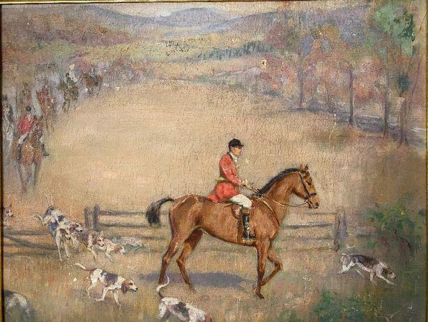 Stary obraz antyk polowanie na lisa malarstwo w stylu kossak